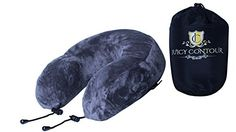 Juicy Contour Ergonomic Memory Foam Neck Travel Pillow with Ultra Soft Washable Cover and Travel Bag Grey ** Find out more about the great product at the image link.