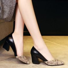 Cheap shoes for office, Buy Quality women high heel pumps directly from China high heel pumps Suppliers: 2017 Serpentine Pattern Patchwork Women's High Heels Pumps Sexy Bride Party Thick Heel Pointed Toe Leather Shoes for Office Lady White Wedge Heels, White Pumps, Leather High Heels, Black High Heels, Thick Heels, Leather Shoes, Snakeskin Heels, Red Heels, Stiletto Heels