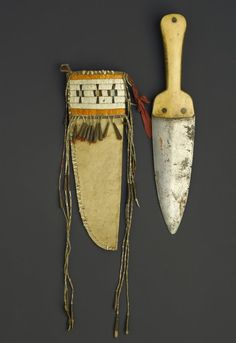 native american scalpingn knife, Human Bone Handle, Nicely Decorated Scabbard - Google Search