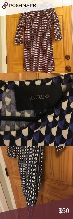 Patterned JCrew Shift Dress with Zipper Detail This dress is so cute! Blue and black patterned shift dress with adorable zipper detail on the sides. Great with tights and boots! J. Crew Dresses Long Sleeve