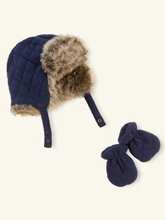 adee4f022fa Polar Fleece Winter Trapper Hat   Mittens Set for baby boy. Ralph Lauren.  Baby
