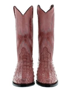 WOMEN'S LADIES PINK CROCODILE ALLIGATOR BACK LEATHER COWBOY BOOTS RODEO