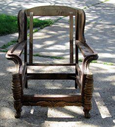 Vintage Wingback Chair Frame, Wood Chair Frame #RomanticShabby #WeberBroStLouisMO