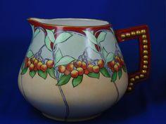 "Porcelain Blank Arts & Crafts ""Mountain Ash"" Design Pitcher (Signed ""E.M. Gwen Koer""/c.1905-1940)"