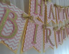 NavyCoralGold Birthday Banner Navy and Gold by LushPaperCreations