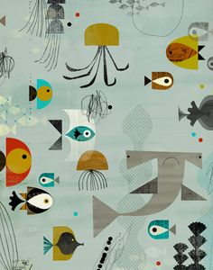 MidCentury Modern Kids Decor: Oopsy daisy, Fine Art for Kids Mid-Century Aquatic Stretched Canvas Art by Dante Terzigni, 24 by - Midcentury Modern Apartment Drawn Art, Art Et Illustration, Fish Art, Art Wall Kids, Art Kids, Art Design, Fish Design, Mail Art, Textures Patterns