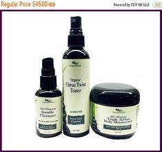 This Organic Skin Care collection is all you need for your Anti-Aging skin care regime.  This anti-aging collection is for those who want to prevent or reduce the initial signs of aging with a simple 3 step skincare regime that will cleanse, hydrate, balance and repair aging skin.    This is PERFECT for your everyday natural skin care regime.  A perfect skin care routine softens, nourishes and conditions skin for a naturally glow. Cleanse, tone and moisturize, every day for healthy-looking…
