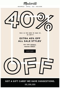 Sale Email Design // Madewell // Typography Email Marketing Design, Email Marketing Campaign, Marketing Ideas, Minimal Web Design, Ad Design, Layout Design, Branding, Template Web, Email Layout