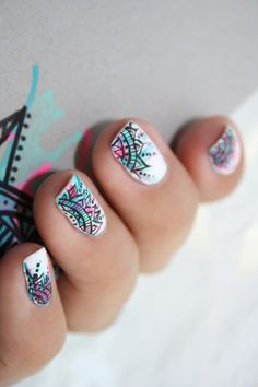 Check out the cute, quirky, and incredibly unique nail art designs that are inspiring the hottest nail art trends. Fancy Nails, Love Nails, Diy Nails, Fabulous Nails, Gorgeous Nails, Pretty Nails, Trendy Nail Art, Cute Nail Art, Mandala Nails