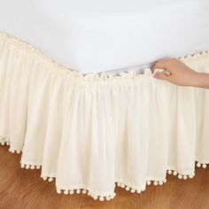 Pom Fringe Bedskirt from Collections Etc.cute, cheap option for girls bed skirt in white Girls Bedroom, Bedroom Decor, Burlap Bedroom, Decoration Shabby, No Sew Curtains, Valance Curtains, Collections Etc, Ruffle Bedding, Linen Bedding