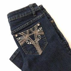 Machine Jeans Women Size 26 x 32 Skinny Stretch Embellished Dark Blue Denim #MachineJeans #Skinny