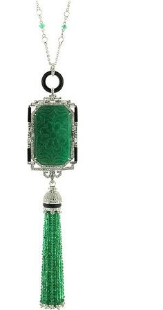 Carved Emerald And Diamond Deco Sautior