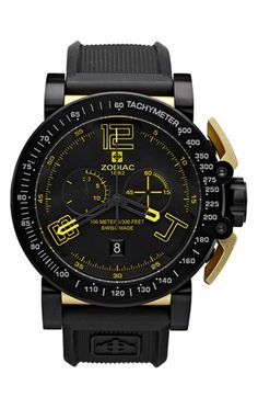 Zodiac 'Racer' Chronograph Rubber Strap Watch, 47mm | Nordstrom