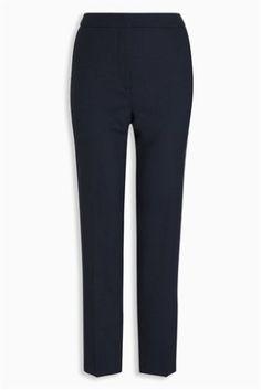 Navy Wool Blend Texture Slim Trousers