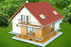 #Projekt TZX-447: to bardzo ładny i funkcjonalny dom o prostej i taniej, dokładnie przemyślanej konstrukcji, przeznaczony dla 3-6 osobowej rodziny, o eleganckiej formie i współczesnej estetyce. Jest to budynek parterowy z użytkowym poddaszem, niepodpiwniczony