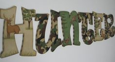 Camo Baby Nursery Handpainted Wall letters  Hunting Outdoor Theme with Buck, Doe and Ducks. $14.98, via Etsy.  Maybe for Landon's room when he's older