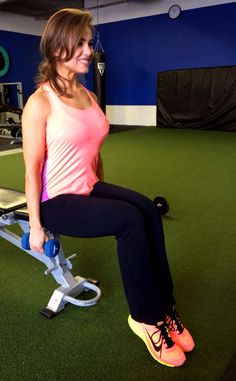 9a. Sit straight up, hands at sides with weights, keep arms straight, lift up to shoulder height, return. Repeat 10 times 2nd circuit, 3 times