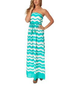 Look at this Pinkblush Mint Green & White Zigzag Strapless Maxi Dress on #zulily today!