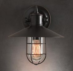 Great Harbour Sconce Vintage Industrial Wall Light. Warehouse Retro Loft Inspired  Design. Restoration Hardware ...