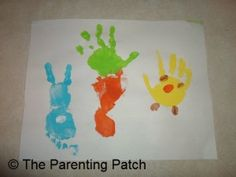 Easter Handprint and Footprint Toddler Craft: Bunny, Carrot, and Chick   Parenting Patch