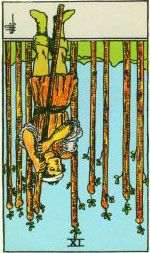 Nine of Wands Reversed Feeling overwhelmed as this is end of journey and cycle. Exhaustion. Doubt. Not ready to walk away and be done with something. Needing to hang on and draw out the end. Outcome not what you wanted or intended. Thoughts of taking the wrong path to get where you wanted to go. Feelings that you have been unfair or unwise. Uncertainty and unrest.