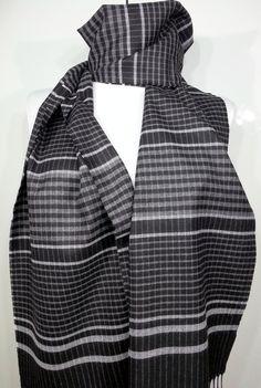 Men's Scarf Gray Scarf Black Wool Men's Scarf Black by PeraTime #handmadeatamazon #nazodesign