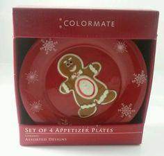 Colormate Holiday Red Plates Gingerbread Men Christmas Decor Appetizer in Decoración de mesa y utens. para servir | eBay
