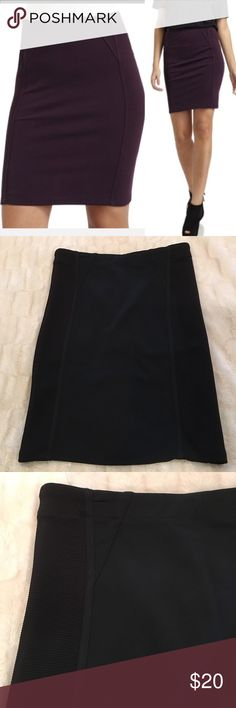 BCBG Montana Pencil Skirt Black NWOT Bodycon pencil stretch skirt with rib sides in black in size medium.  NWOT.  ***Cover photo is in violet so that the details can be seen, actual skirt is BLACK! BCBGMaxAzria Skirts