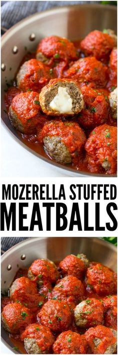 Mozzarella Stuffed Meatballs are a fun twist on the classic recipe - serve these meatballs as a party appetizer or over a big plate of spaghetti for a hearty meal!: (healthy meals for dinner ground beef) Meat Recipes, Low Carb Recipes, Cooking Recipes, Healthy Recipes, Cake Recipes, Meatball Recipes, Spinach Recipes, Recipies, Zuchinni Recipes