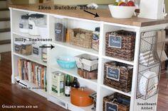 DIY Ikea Hack Kitchen Island with beadboard and butcher block countertop with Billy bookshelves via www.goldenboysandme.com