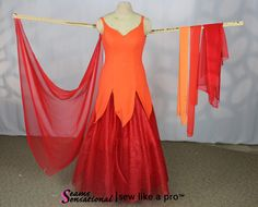 red Standard float with multi color drapes on left arm