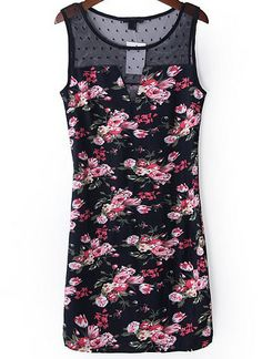 Navy Contrast Lace Sleeveless Floral Dress EUR€17.36