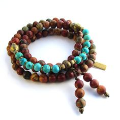 108 bead mala Picasso and Turquoise wrap bracelet or necklace – Lovepray jewelry, Malas, Necklaces and Bracelets