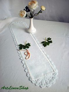 Crocheted doily Table Runner Lace doily Organic linens Shabby chic doilies Wedding table doily White doily Wedding doily Rustic home decor