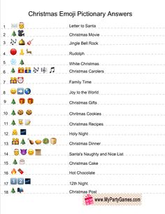 Emoji Pictionary Quiz Answer Key - Christmas Emoji Pictionary Quiz Answer Key -Christmas Emoji Pictionary Quiz Answer Key - Christmas Emoji Pictionary Quiz Answer Key - Guess the 50 movie names from Emoticons and smileys Christmas Party Ideas For Teens, Christmas Party Games For Groups, Xmas Games, Printable Christmas Games, Holiday Party Games, Halloween Parties, Christmas Family Games, Christmas Trivia Games, Christmas Party Activities