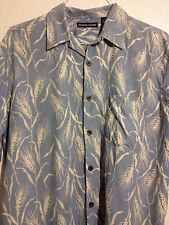 Mens Hawaiian Shirt Large Bobby Chan Silk Golf Beach Tee Blue Wheat Button Up