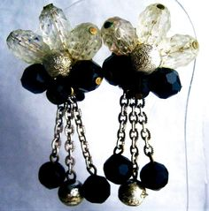 DANGLE EARRINGS WESTERN GERMANY SIGNED PIN BEADS OLD VINTAGE JEWELRY