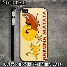 Hakuna Matata Lion King custom Black iPhone Case 4 / 4S and also iphone 5 Apple Phone Hard Cover Plastic. $16.99, via Etsy.