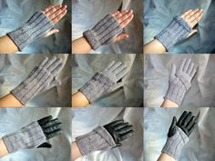 Knitting kit/gift kit - fingerless wrist warmers/gloves/mitts - hand knitting pattern and yarn in an organza bag