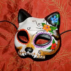 Day of the Dead Mask Dia de Los Muertos Kitty Cat by Masquefaire, $43.00