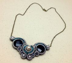 Soutache Pearl and Turquoise Statement Necklace by RestlessArtMpls, $60.00