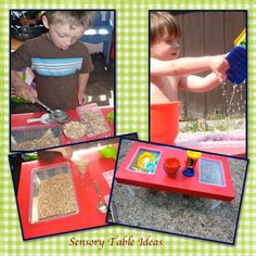 Birdseed and water in sensory bins. Easy to make and fun sensory ideas for kids. Perfect for summer!