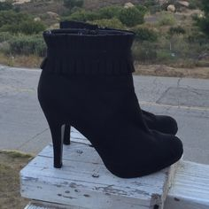 Heels! Black sleek booties!! Worn only once. Awesome with leggings or skinny jeans! Anne Michelle Shoes Ankle Boots & Booties