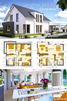 Inexpensive single-family house from Living-Haus ➤ Get all information about the house by clicking on the picture. Living Haus, Home And Living, Home And Family, Prefabricated Houses, Prefab Homes, Garage Furniture, Home Entertainment Centers, Cheap Houses, Architecture Magazines