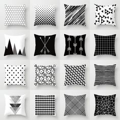 9 All Time Best Tips: Decorative Pillows Quotes Reading Nooks cute decorative pillows blankets.Decorative Pillows With Sayings Sweets decorative pillows ideas floor cushions.Decorative Pillows On Sofa Inspiration. Black And White Cushions, Black White Decor, Black And White Living Room Ideas, White Sofas, White Cushion Covers, Geometric Cushions, Geometric Art, Throw Pillow Cases, Soft Furnishings