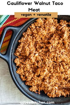 Need an easy vegan taco meat but tired of beans and lentils? This cauliflower walnut taco meat fits the bill on those occasions. Made with lots of cauliflower, walnuts, and spices, it takes little time or effort to whip up, and makes a huge batch! Vegetarian Tacos, Vegan Tacos, I Love Food, A Food, Vegan Looks, Meat Substitutes, Veg Recipes, Veggie Dishes, Mexican Dishes