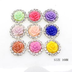 20pcs 16mm Round Rose Flower Acrylic Embellishment Rhinestone Button Flateback DIY Accessories Mix 9 Colors >>> See this great item.