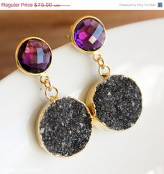 HOLIDAY SALE Gold Purple Amethyst and Midnight Black by OhKuol, $60.00
