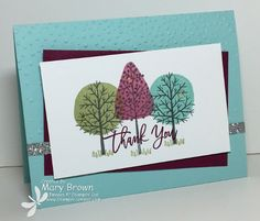 Stamps: Totally Trees, Thoughtful Branches Paper: Whisper White, Pool Party, Rich Razzleberry, Silver Glimmer Ink: Basic Grey Archival, Pool Party, Pear Pizzazz, Sweet Sugarplum, Rich Razzleberry