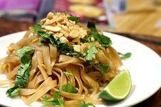 easy pad thai - no strange ingredients! peanuts, eggs, green onions, brown sugar, soy sauce, lime, cilantro.